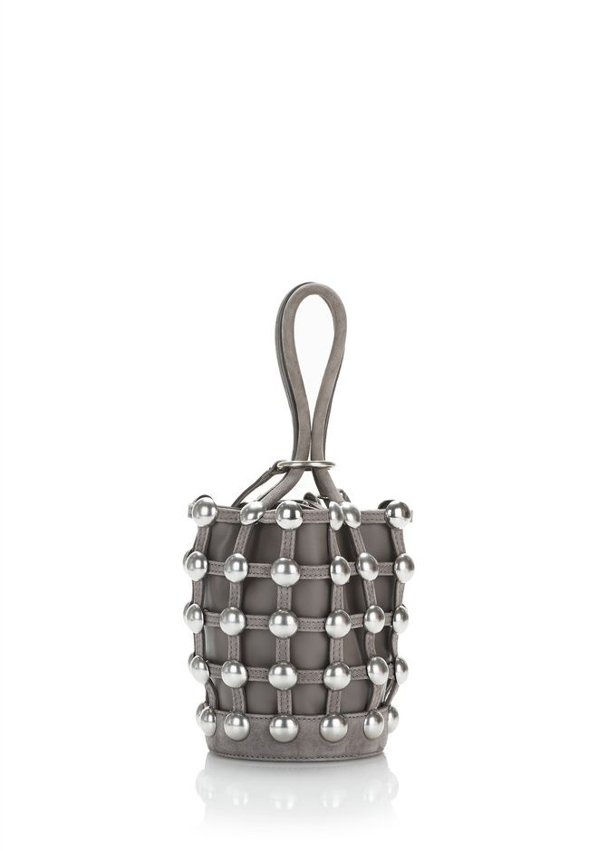 ALEXANDER WANG DOME STUD ROXY MINI BUCKET BAG IN SUEDE MINK  CLUTCH Adult 12_n_d