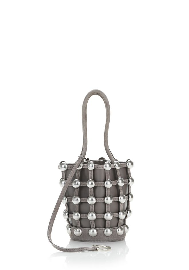 ALEXANDER WANG DOME STUD ROXY MINI BUCKET BAG IN SUEDE MINK  CLUTCH Adult 12_n_r