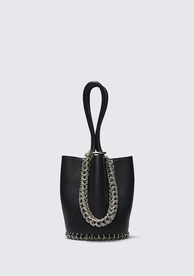 ALEXANDER WANG CLUTCHES ROXY MINI BUCKET BAG IN BLACK WITH BOX CHAIN