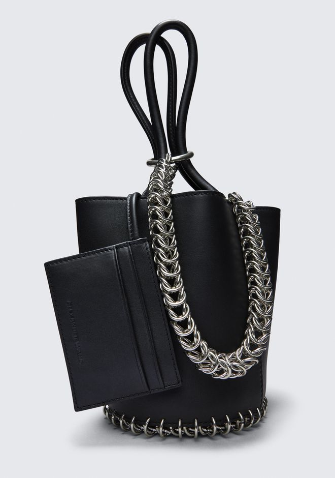 ALEXANDER WANG ROXY MINI BUCKET BAG IN BLACK WITH BOX CHAIN  POCHETTE Adult 12_n_e