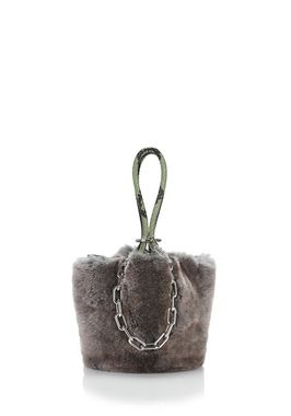 ROXY MINI BUCKET BAG IN GREY MELANGE FUR