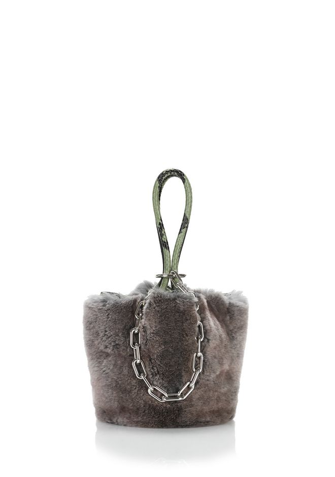 ALEXANDER WANG CLUTCHES Women ROXY MINI BUCKET BAG IN GREY MELANGE FUR