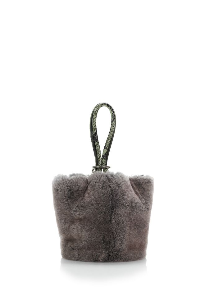 ALEXANDER WANG ROXY MINI BUCKET BAG IN GREY MELANGE FUR CLUTCH Adult 12_n_a