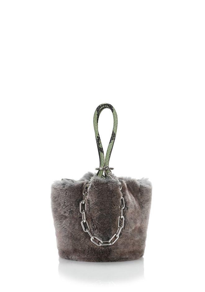 ALEXANDER WANG ROXY MINI BUCKET BAG IN GREY MELANGE FUR CLUTCH Adult 12_n_f