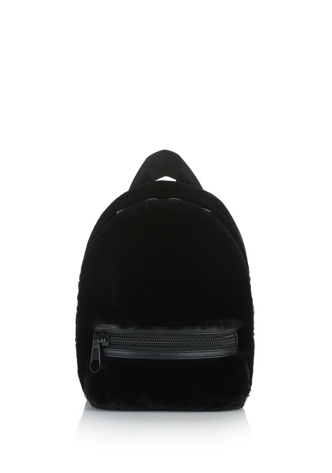 ALEXANDER WANG BACKPACKS Women PRIMARY BACKPACK IN BLACK SHEARLING WOOL