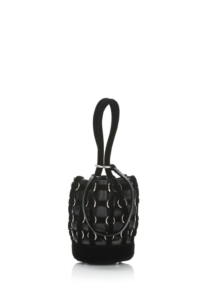 ALEXANDER WANG CLUTCHES CAGED ROXY MINI BUCKET IN BLACK WITH RHODIUM