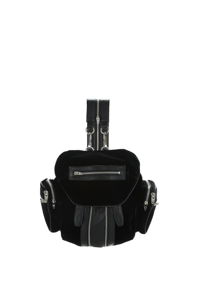ALEXANDER WANG BACKPACKS MINI MARTI BLACK IN BLACK VELVET WITH RHODIUM