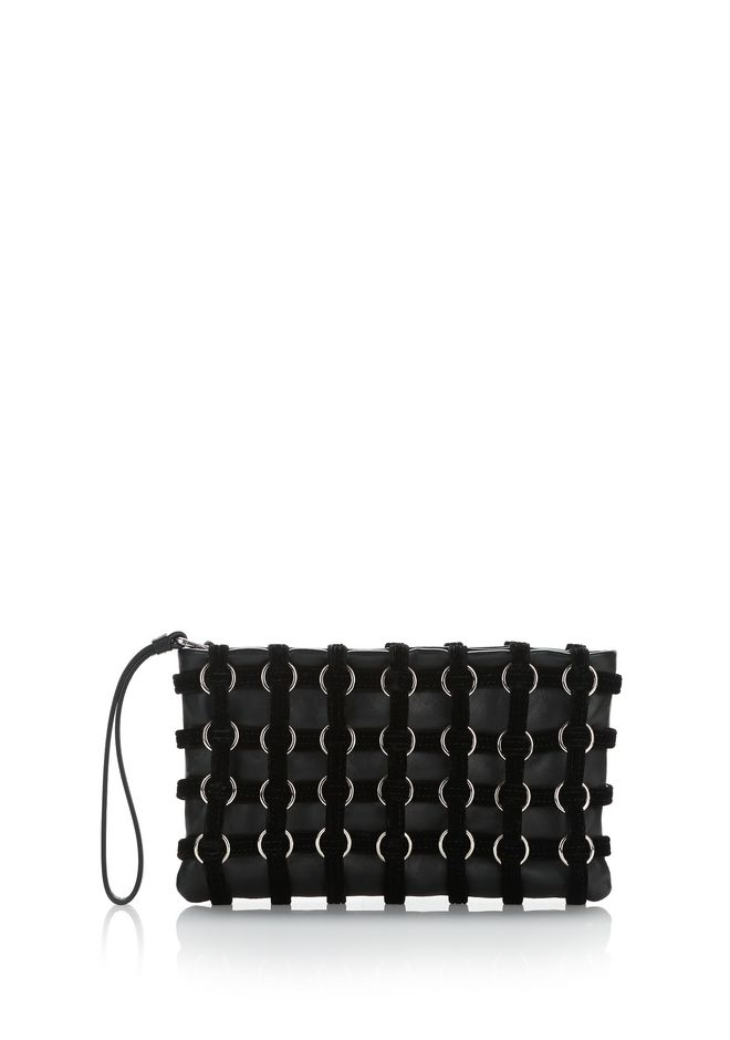ALEXANDER WANG CLUTCHES Women ROXY CAGE POUCH IN BLACK VELVET