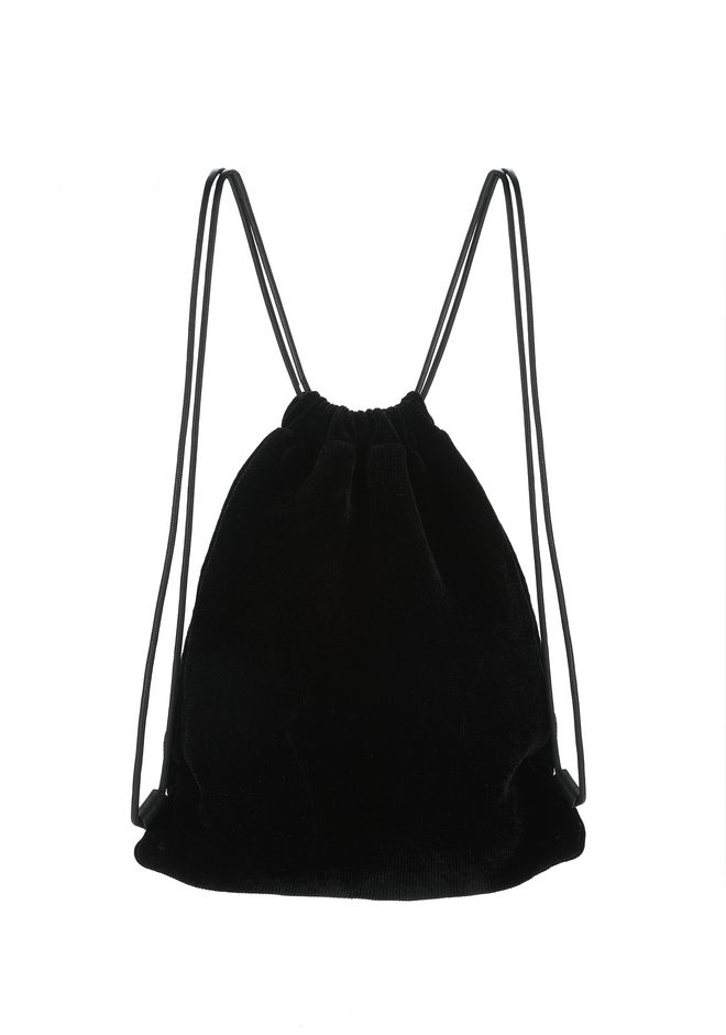 ALEXANDER WANG PRIMARY DRAWSTRING BACKPACK IN BLACK WITH WHITE RAVE FLYER CHENILLE 背包 Adult 12_n_e