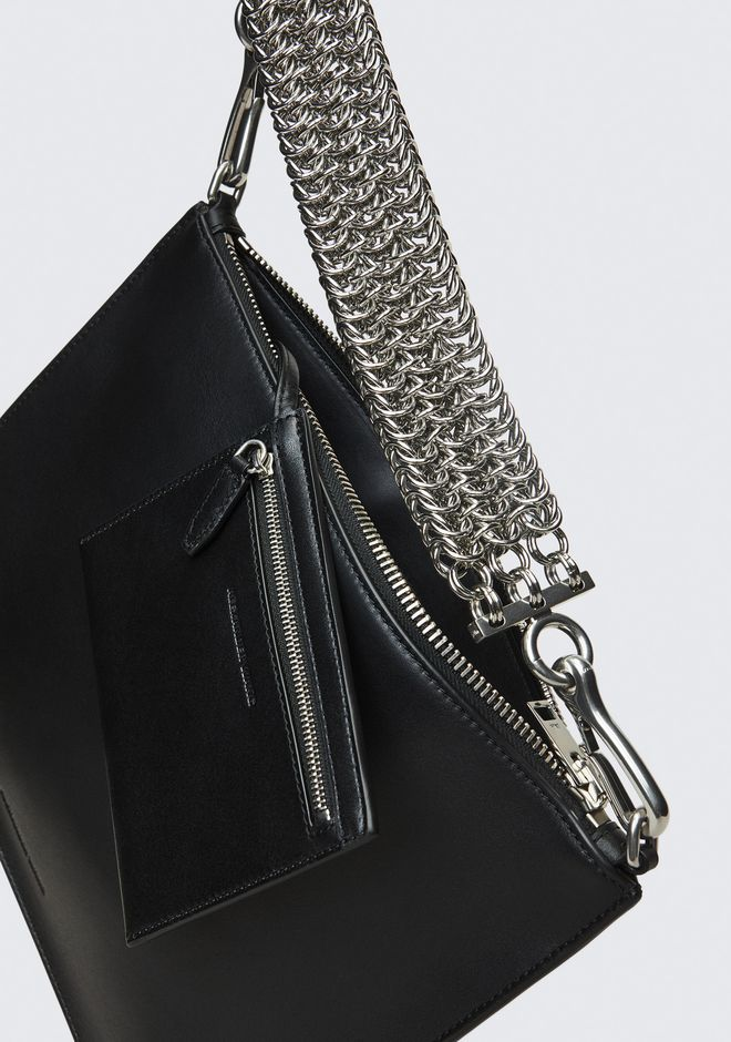 ALEXANDER WANG GENESIS POUCH IN BLACK WITH BOX CHAIN CLUTCH Adult 12_n_d