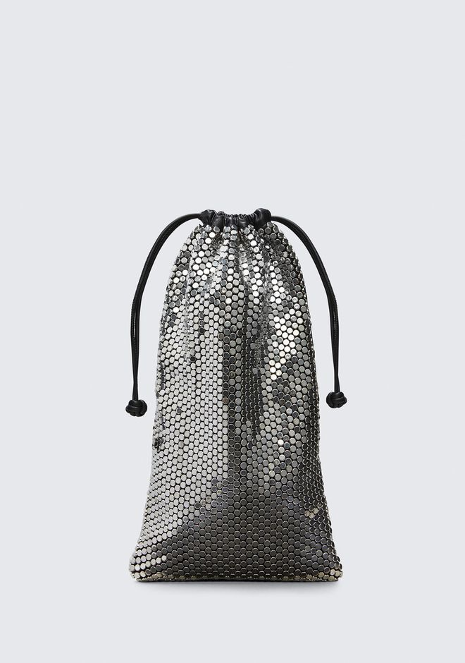 ALEXANDER WANG CLUTCHES RYAN DUST BAG IN SILVER STUD RHINESTONE