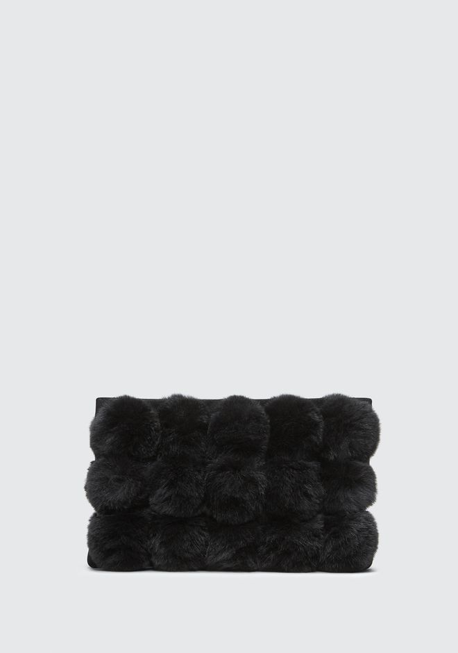 ALEXANDER WANG CLUTCHES ROXY FUR CAGE POUCH