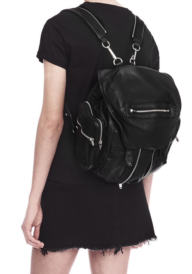 ALEXANDER WANG MARTI BACKPACK IN WASHED BLACK WITH RHODIUM BACKPACK Adult 12_n_r