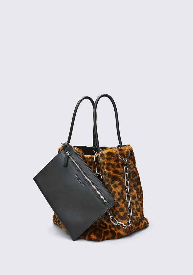 ALEXANDER WANG LEOPARD ROXY SMALL BUCKET TOTE CLUTCH Adult 12_n_e