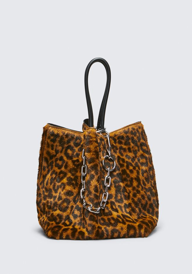 ALEXANDER WANG LEOPARD ROXY SMALL BUCKET TOTE CLUTCH Adult 12_n_f