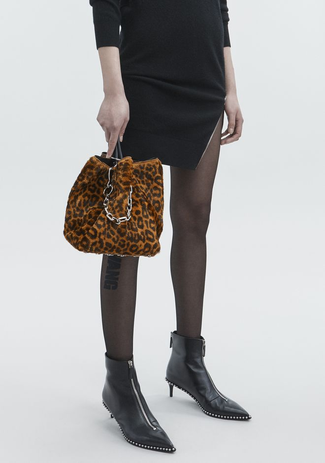 ALEXANDER WANG LEOPARD ROXY SMALL BUCKET TOTE CLUTCH Adult 12_n_r
