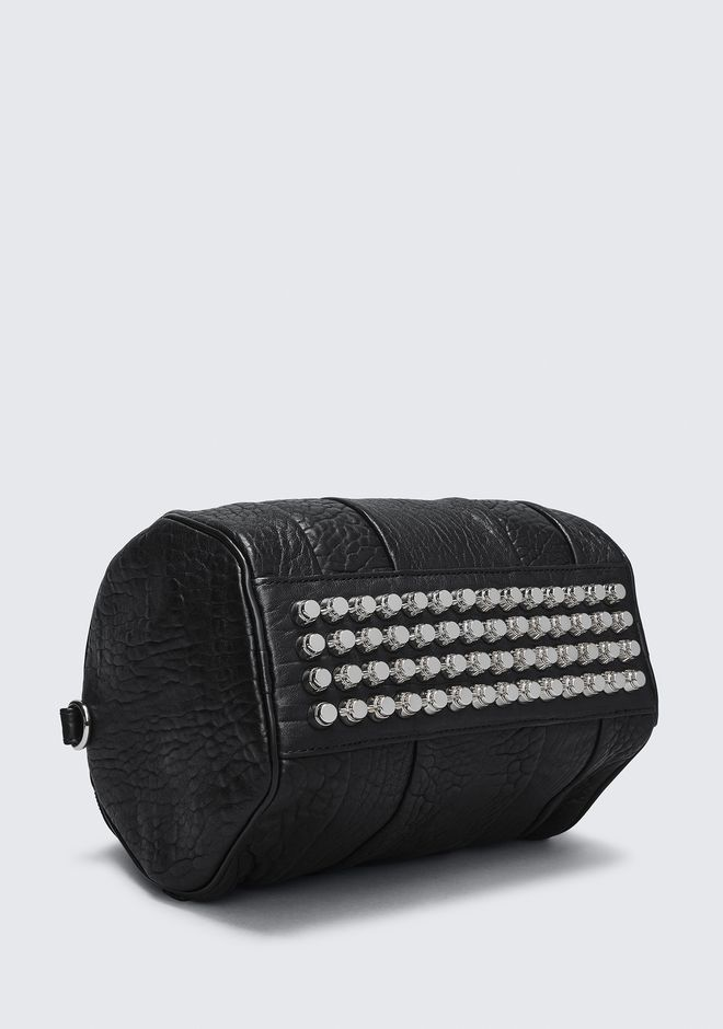 ALEXANDER WANG ROCKIE IN PEBBLED BLACK WITH RHODIUM MESSENGER BAG Adult 12_n_a