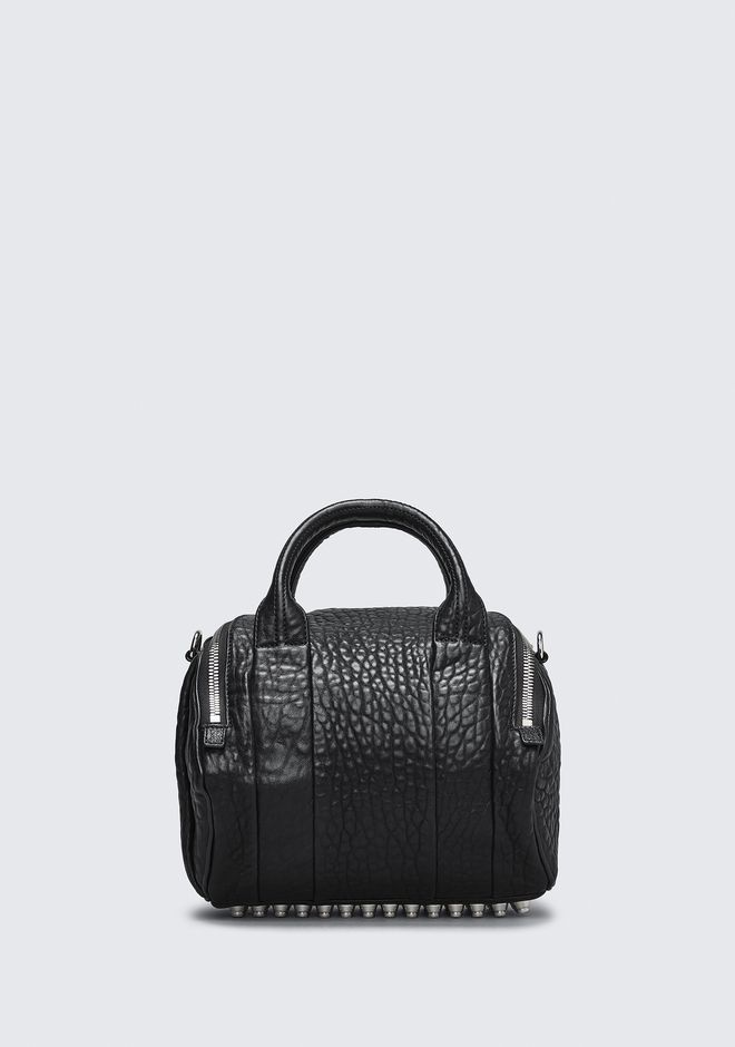 ALEXANDER WANG ROCKIE IN PEBBLED BLACK WITH RHODIUM MESSENGER BAG Adult 12_n_d