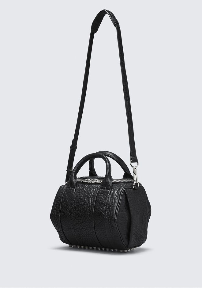 ALEXANDER WANG ROCKIE IN PEBBLED BLACK WITH RHODIUM MESSENGER BAG Adult 12_n_e