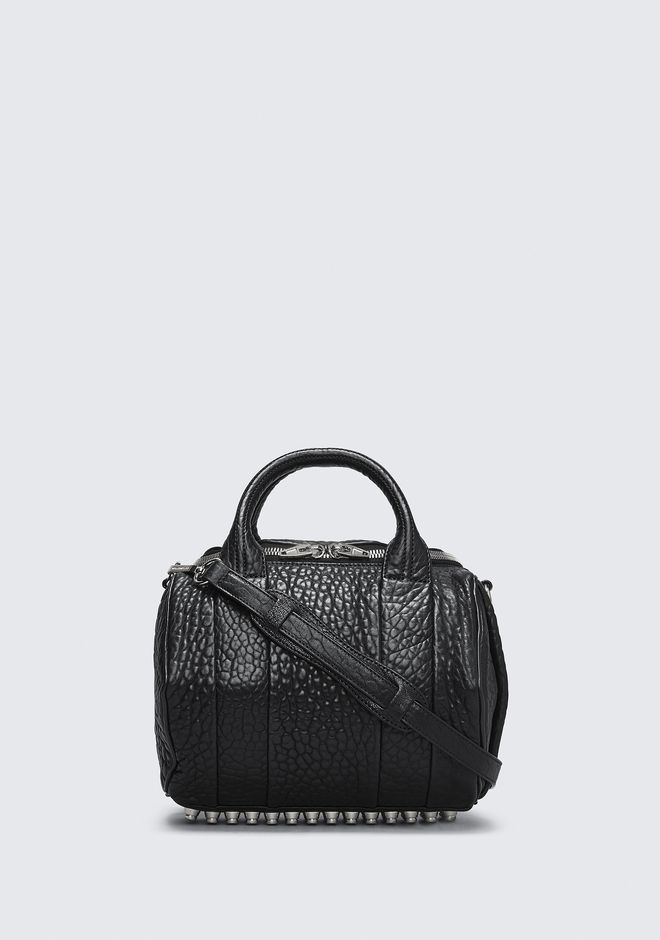 ALEXANDER WANG ROCKIE IN PEBBLED BLACK WITH RHODIUM MESSENGER BAG Adult 12_n_f