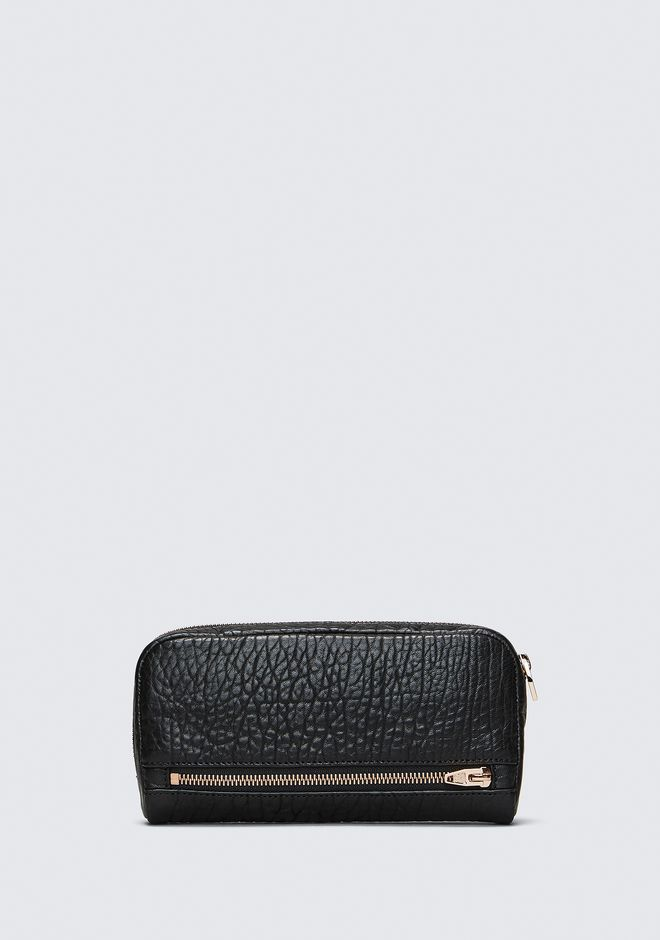 ALEXANDER WANG FUMO CONTINENTAL WALLET IN  BLACK PEBBLE LEATHER WITH ROSEGOLD SMALL LEATHER GOOD Adult 12_n_a