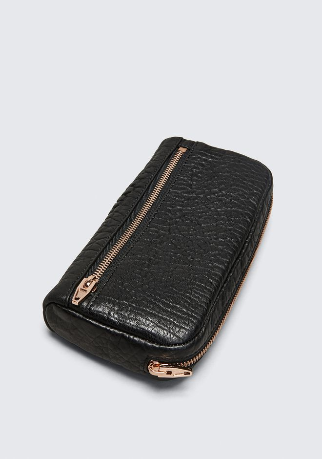 ALEXANDER WANG FUMO CONTINENTAL WALLET IN  BLACK PEBBLE LEATHER WITH ROSEGOLD SMALL LEATHER GOOD Adult 12_n_e