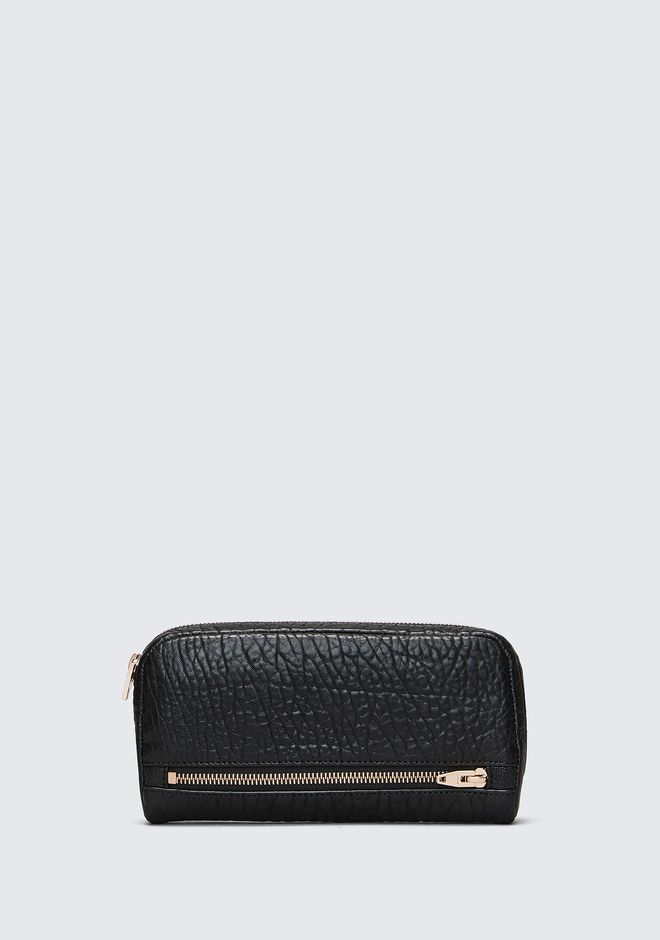 Fumo Continental Wallet In  Black Pebble Leather With Rosegold by Alexander Wang