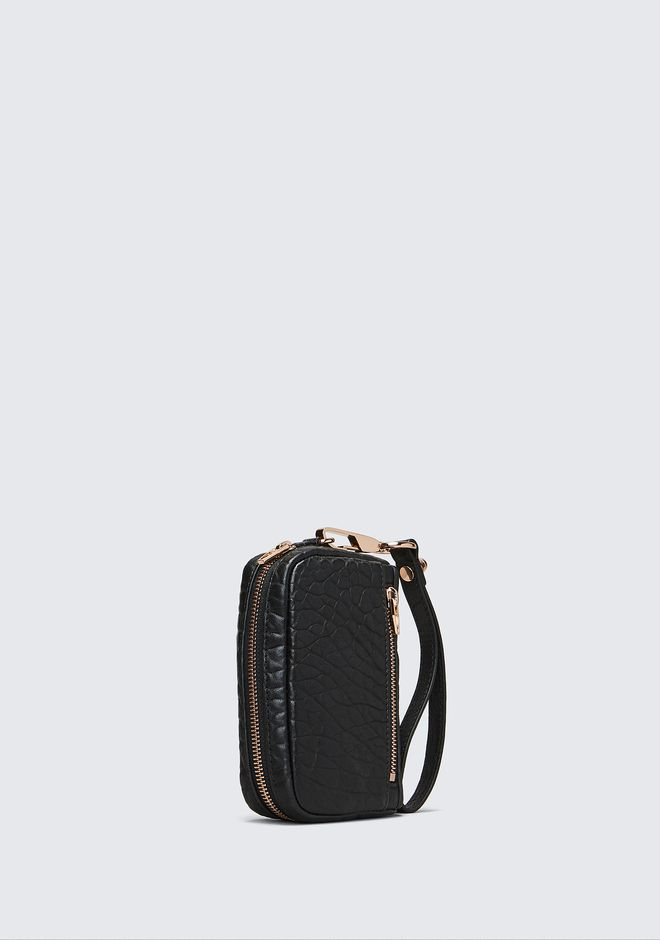 ALEXANDER WANG LARGE FUMO IN PEBBLED BLACK WITH ROSE GOLD SMALL LEATHER GOOD Adult 12_n_a
