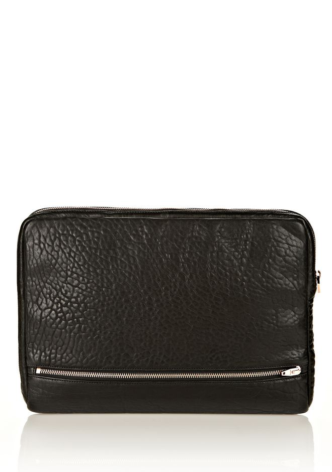 ALEXANDER WANG FUMO LAPTOP CASE IN BLACK PEBBLE LEATHER WITH ROSEGOLD TECH Adult 12_n_e