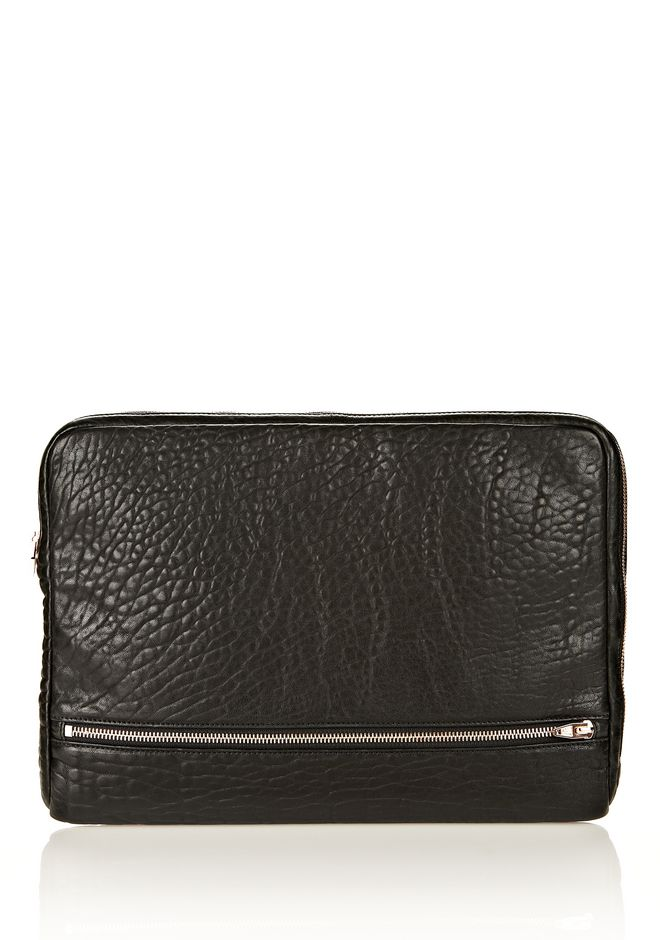 ALEXANDER WANG FUMO LAPTOP CASE IN BLACK PEBBLE LEATHER WITH ROSEGOLD TECH Adult 12_n_f