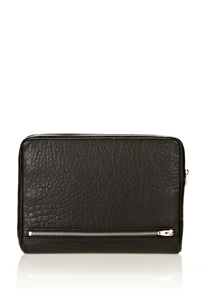 ALEXANDER WANG FUMO IPAD CASE IN  BLACK PEBBLE LEATHER WITH ROSEGOLD TECH Adult 12_n_e
