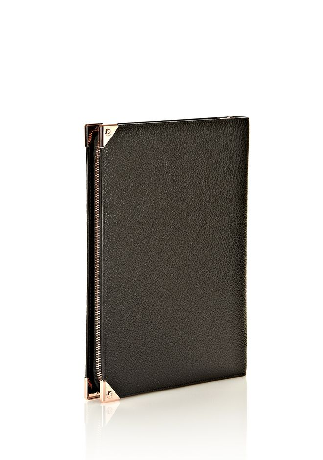 ALEXANDER WANG PRISMA IPAD CASE IN BLACK PEBBLE WITH ROSEGOLD TECH Adult 12_n_e