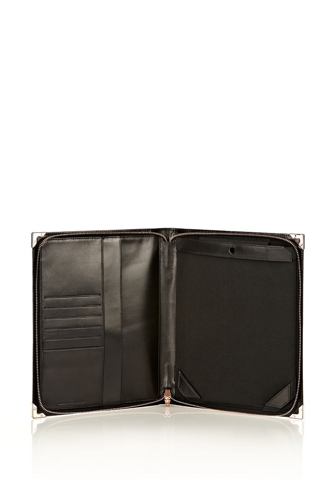 ALEXANDER WANG PRISMA IPAD CASE IN BLACK PEBBLE WITH ROSEGOLD TECH Adult 12_n_r