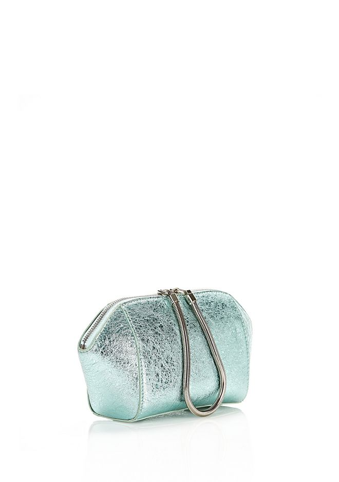 ALEXANDER WANG CHASTITY MAKE-UP POUCH IN FOILED ZINC WITH ZINC SMALL LEATHER GOOD Adult 12_n_d