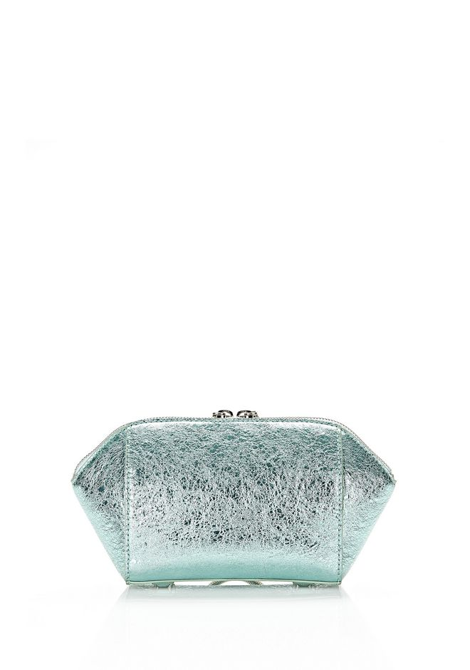 ALEXANDER WANG CHASTITY MAKE-UP POUCH IN FOILED ZINC WITH ZINC SMALL LEATHER GOOD Adult 12_n_e