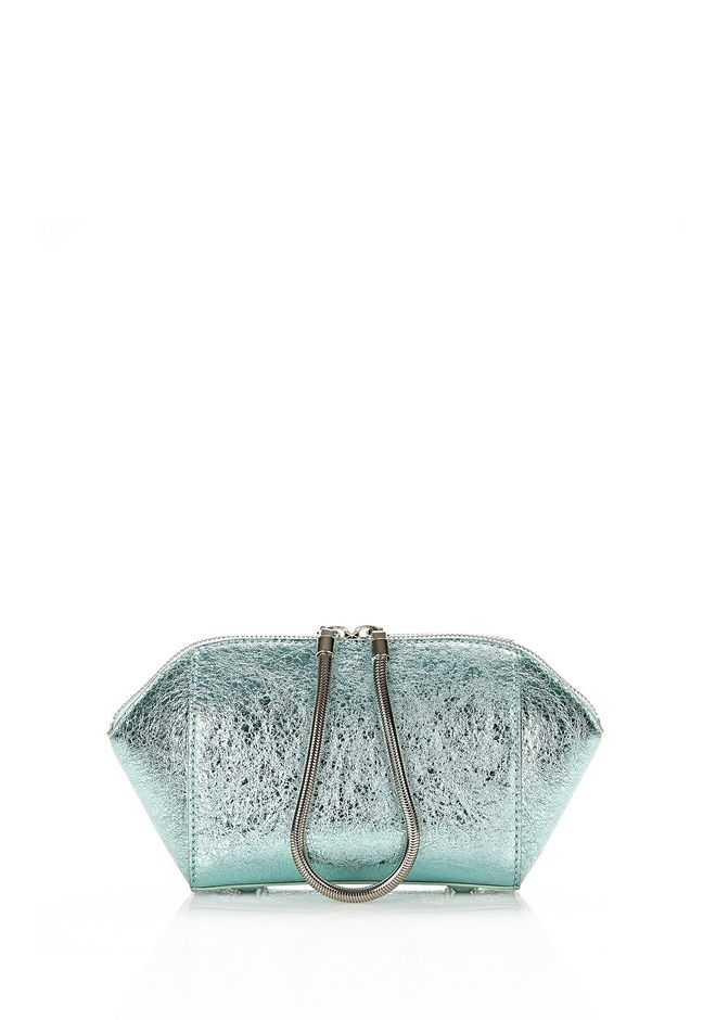 ALEXANDER WANG CHASTITY MAKE-UP POUCH IN FOILED ZINC WITH ZINC SMALL LEATHER GOOD Adult 12_n_f