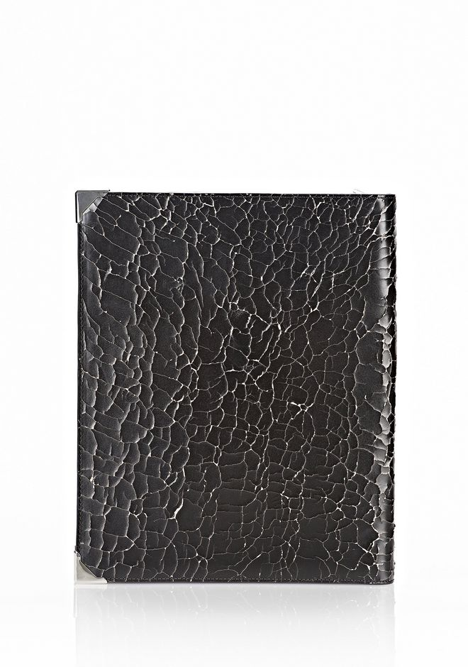 ALEXANDER WANG PRISMA SKELETAL IPAD CASE IN HEAVY CRACKED BLACK WITH RHODIUM TECH Adult 12_n_d