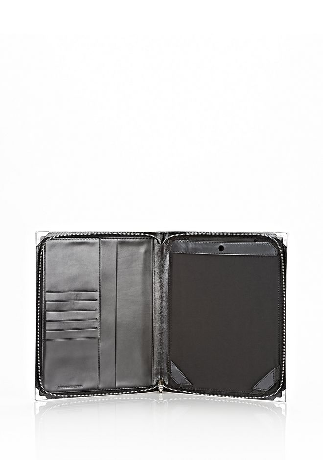 ALEXANDER WANG PRISMA SKELETAL IPAD CASE IN HEAVY CRACKED BLACK WITH RHODIUM TECH Adult 12_n_e