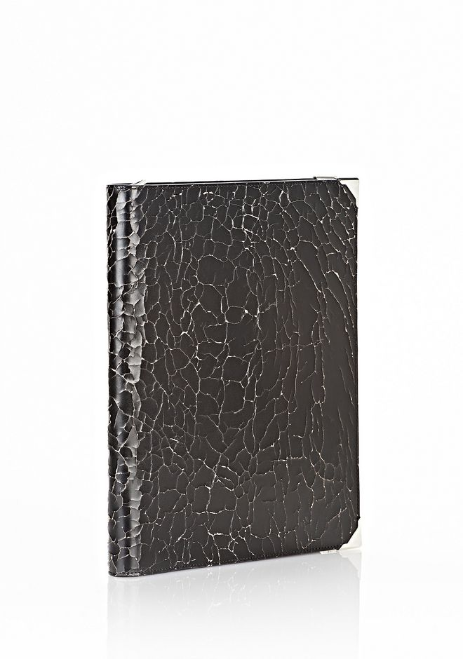 ALEXANDER WANG PRISMA SKELETAL IPAD CASE IN HEAVY CRACKED BLACK WITH RHODIUM TECH Adult 12_n_r