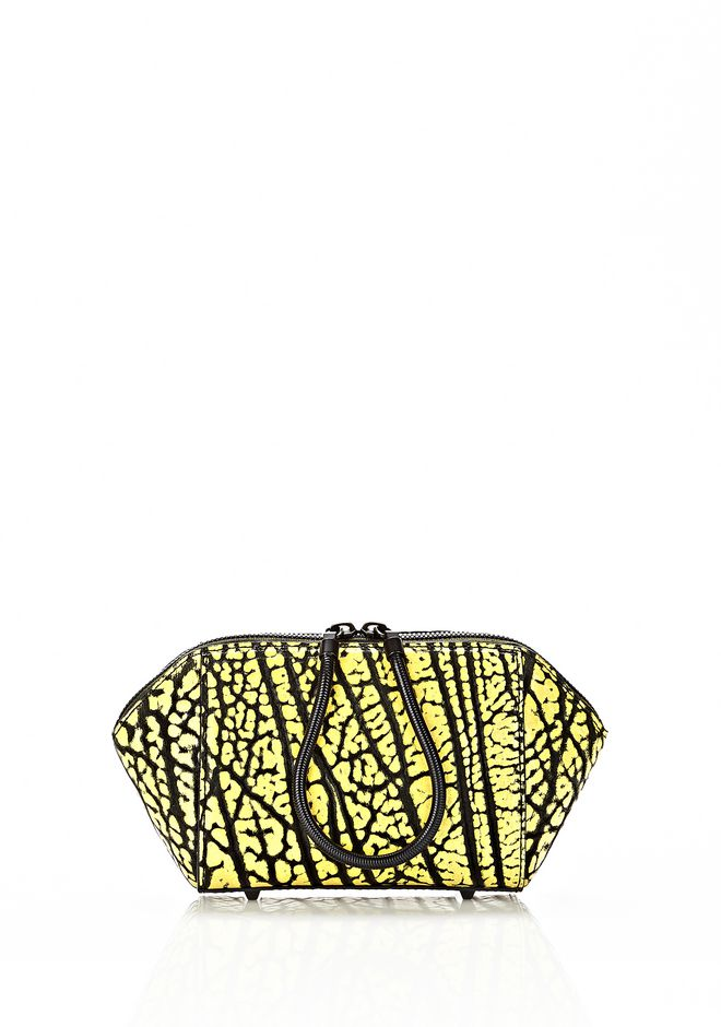 ALEXANDER WANG CHASTITY MAKE UP POUCH IN CONTRAST TIP CITRON SMALL LEATHER GOOD Adult 12_n_f