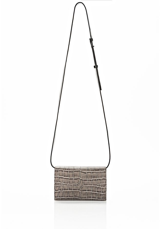 ALEXANDER WANG PRISMA DOUBLE BIKER PURSE IN EMBOSSED OYSTER SMALL LEATHER GOOD Adult 12_n_d