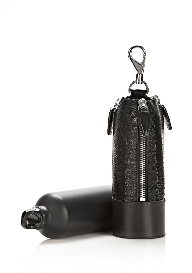 ALEXANDER WANG RUNWAY WATER BOTTLE IN EMBOSSED BLACK WITH RHODIUM SMALL LEATHER GOOD Adult 12_n_f
