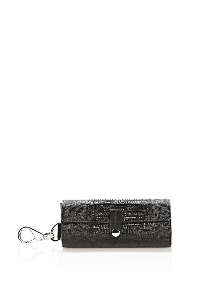 ALEXANDER WANG SUNGLASS CASE IN BLACK WITH RHODIUM  SMALL LEATHER GOOD Adult 12_n_e