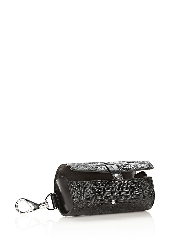 ALEXANDER WANG SUNGLASS CASE IN BLACK WITH RHODIUM  SMALL LEATHER GOOD Adult 12_n_r
