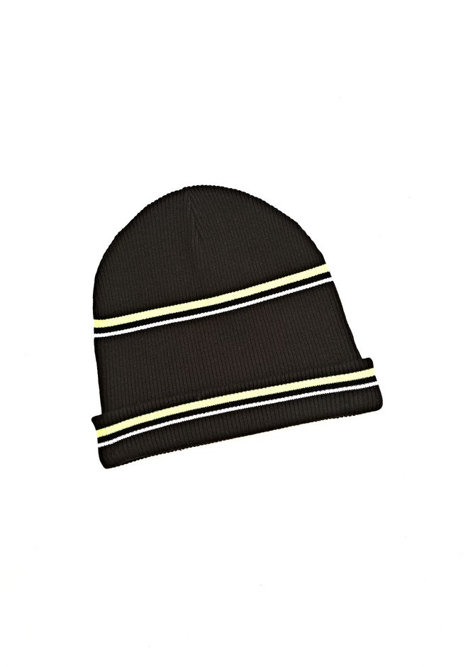 64d804033e790 T by ALEXANDER WANG MERINO BLEND RIB KNIT BEANIE WITH STRIPE DETAIL Scarf    Hat Adult ...