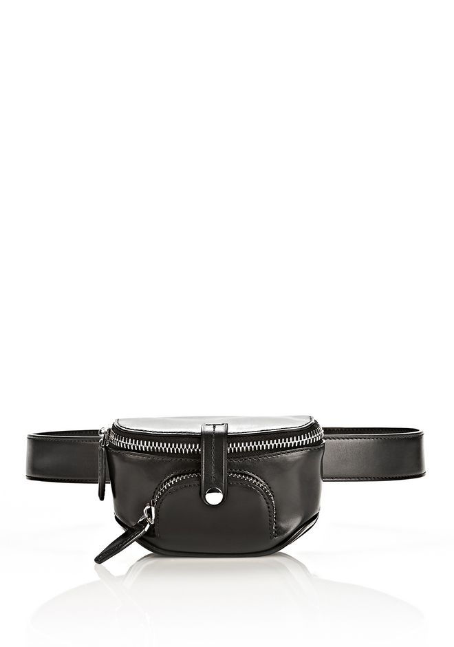 ALEXANDER WANG RUNWAY MINI FANNY PACK IN BLACK WITH RHODIUM SMALL LEATHER GOOD Adult 12_n_f