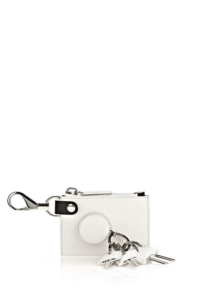 ALEXANDER WANG RUNWAY ZIP POUCH IN SILICA WITH RHODIUM SMALL LEATHER GOOD Adult 12_n_f