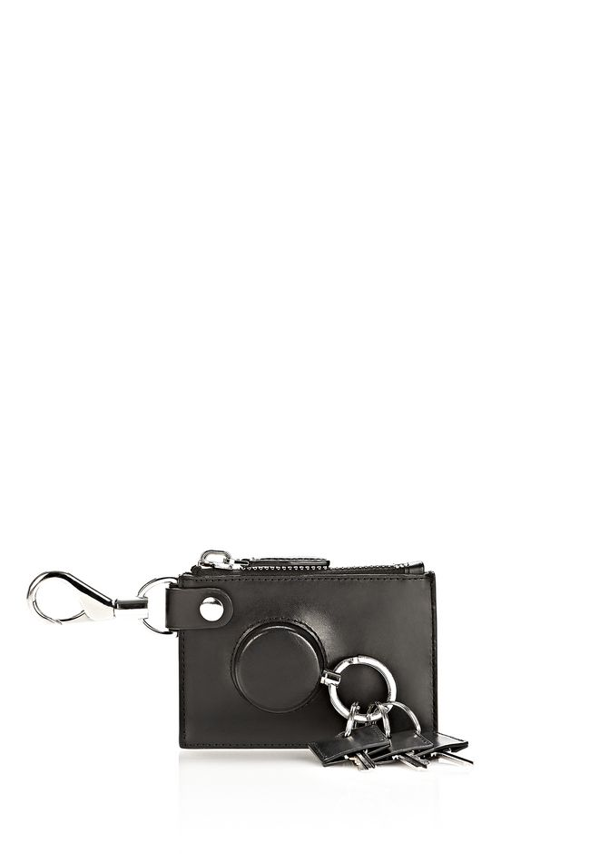 ALEXANDER WANG RUNWAY ZIP POUCH IN BLACK WITH RHODIUM SMALL LEATHER GOOD Adult 12_n_f