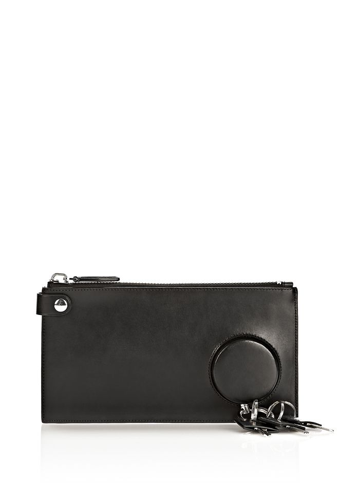 ALEXANDER WANG RUNWAY KEY CLUTCH IN BLACK WITH RHODIUM SMALL LEATHER GOOD Adult 12_n_f