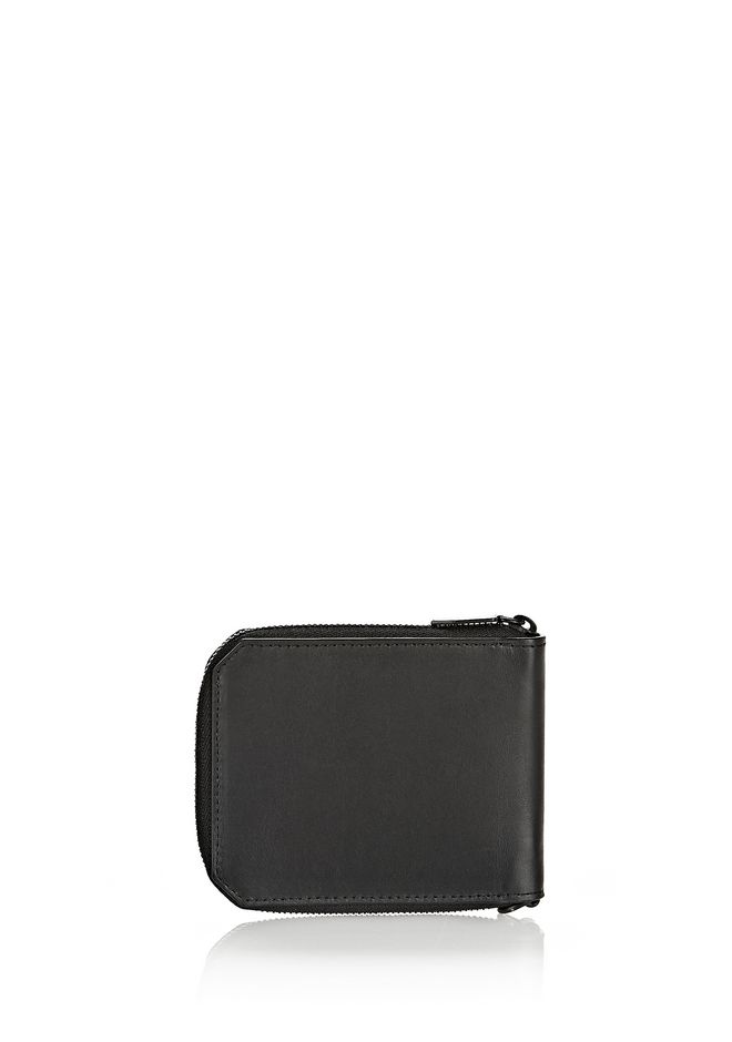 ALEXANDER WANG ZIPPED BI-FOLD WALLET IN SMOOTH BLACK SMALL LEATHER GOOD Adult 12_n_d